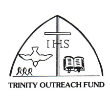 Trinity Outreach Fund with cross in middle, people and dove to the left of cross and bible to the right.